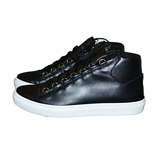 Sneakers uomo scarpe calzature nero fondo bianco stringata lacci impermeabile e vitello