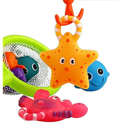 QQ GO Baby Fishing Bath Toy,Kid Fishing Floating Squirts Toy and Water Scoop with Organizer Bag(8 Pack), Fish Net Game in Bathtub for Kids Toddler: Home & Kitchen