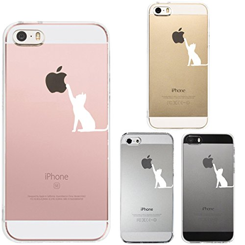 Price comparison product image Iphone Se Iphone5s /5 Shell Case Anti-Scratch Clear Back for Iphone Se Iphone 5s /5 Cute A cat is playing with an apple