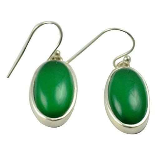 Earrings Onyx Green (LoveGem Genuine Green Onyx EARRINGS 925 Sterling Silver, 35mm, AE2287)