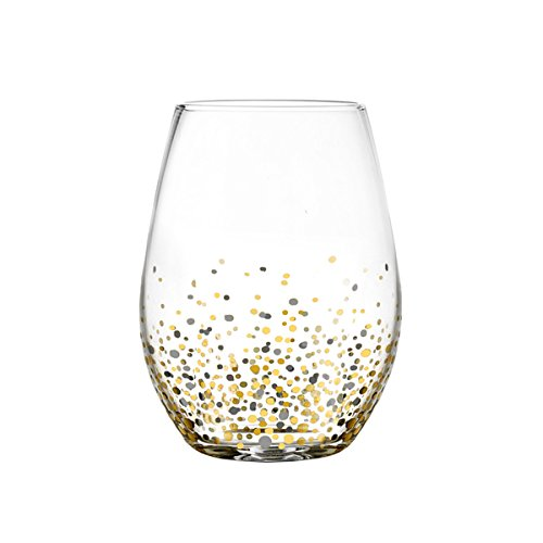 Fitz Floyd Confetti Black and Gold Stemless Glasses (Pack of - Malcolm Sale Glasses X For