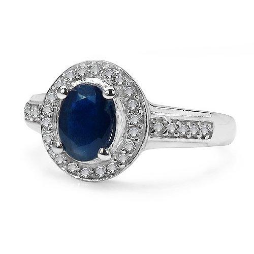 Silvancé - Bague femme - plaqués rhodium en argent sterling 925/1000 - pierres précieuses: Blue Sapphire env. 1.27ct. - R11480BSAPHWT_SSR