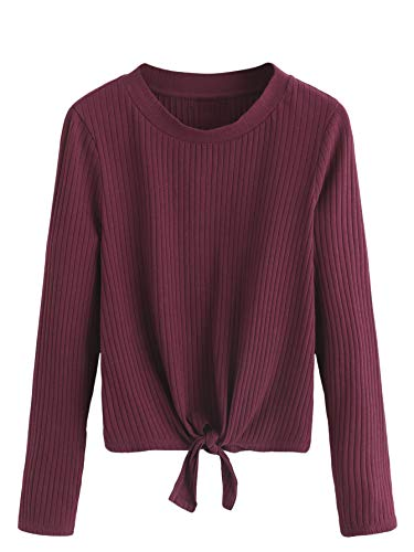 SweatyRocks Women's Long Sleeve Knot Front Solid Ribbed Knit Pullovers Tee Shirt Burgundy - Long Sleeve Pullover Ribbed