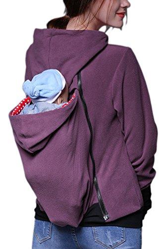 Simple con capucha bebé ropa sudaderas de la mujer Greypurple