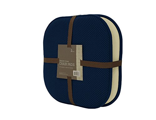 Seat Cushions Dining Chairs - GoodGram 2 Pack Non Slip Ultra Comfort Memory Foam Chair Pads - Assorted Colors (Navy)