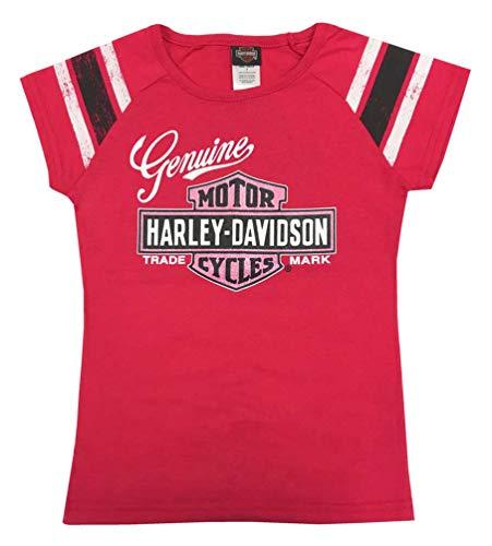 - Harley-Davidson Big Girls' Glitter Genuine Legend Short Sleeve Tee, Pink (7/8)