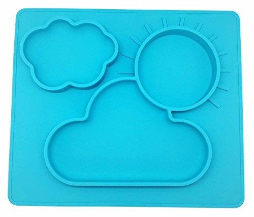 PloveS One Piece all-in-one Silicone Baby Feeding Placemat and Plate Mold Tray, Dinner Dish with Cloud and Sun Design dinnerware for babies, toddlers and kids (Light Blue)