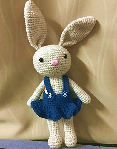 HYST Pastel Rabbit Handmade Amigurumi Stuffed Toy Knit Crochet Doll Baby Bunny Animal Toy (Dark Blue Dress)