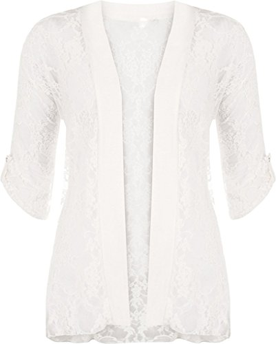 RM Fashions Ladies Womens Short Sleeves Lace Open Front Cardigan Shrug Sweater Cream US 16 - Tab Front Sweater