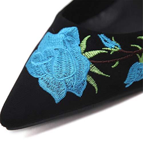 Femmes Pour Bout À Talons Hauts Chaussures Bleu Pointu Escarpins THwOq7xn
