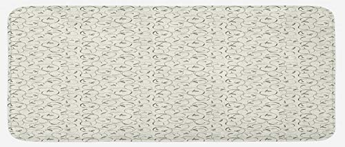 Ambesonne Spring Kitchen Mat, Curvy Swirling Flower Twigs Leaves and Petals Scroll Revival Pattern, Plush Decorative Kithcen Mat with Non Slip Backing, 47 W X 19 L Inches, Grey Green and Off White