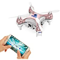 Smallest FPV Drone with Camera Live Video iOS/Android APP Phone Wifi Remote Control Mini Quadcopter Spy Drone Pocket Drone for Apple iPhone iPad Sumsung HTC
