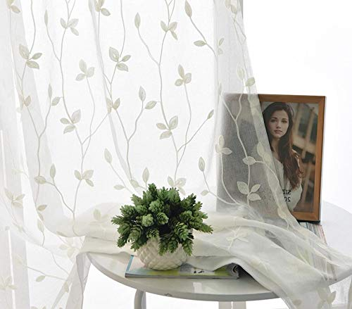 TIYANA Leaf Curtain Sheer Panel for Living Room 84 inch Long Extra Wide Romantic Leaf Embroidered White Backdrop Sheer Gauze Tulle Voile Drape Custom Window Curtain Panel 1 Piece 114x84 - Custom Drape Panel