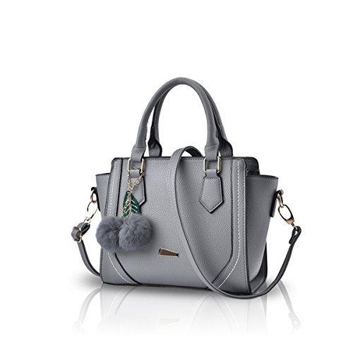 NICOLE&DORIS Women/Ladies Casual Fashion Handbag Crossbody Messeger Shoulder Purse Tote Satchel Shopping Bag Faux Leather PU Light Grey (Leather Faux Grey Handbag)