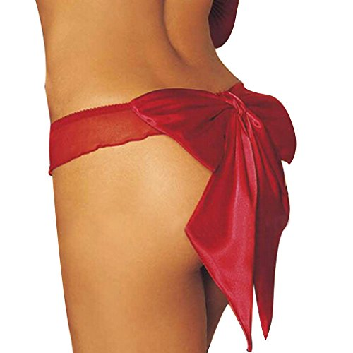 Zmart Women's Back Ribbon Satin Bow Sheer Ruffled G String Thongs Underwear Red, One size=US 00-14, Red