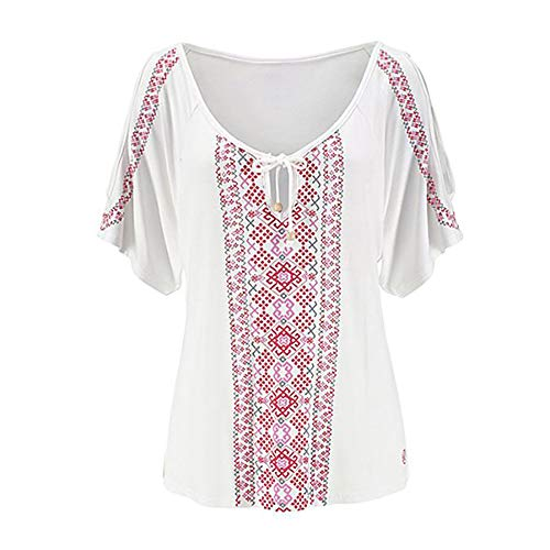 Froide Courtes T Imprim Epaule Taille Femme Shirt Blanc Grande Chemise Tops Uranus Blouse Manches vwHtTgnq