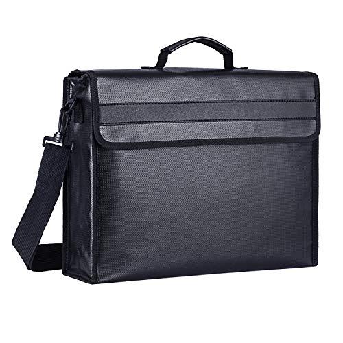 SPLF Fireproof and Waterproof Document Bag, Fire Proof Safe Box for Important Document Organizer Storage, Messenger Bag Briefcase with Zipper Shoulder Strap for Men & Women, Black