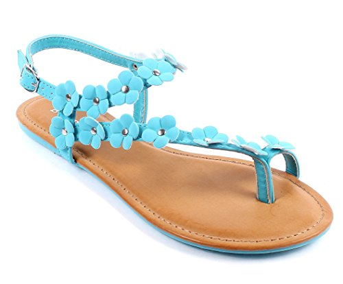 Bamboo Fashion Buckle Casual Summer Flowers Shape Slingback Flats Womens Sandals Shoes New Without Box (6, Turquoise)