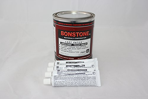 Bonstone Last Patch Limestone Repair Kit/Texas Cream Quart Size with 4 Tubes, Repair Chips, Spalls, Broken Corners Glue Epoxy Adhesive
