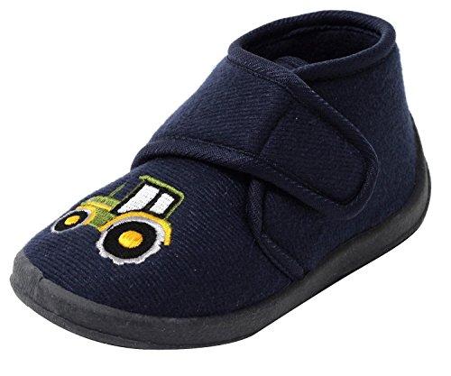 Kinder Hausschuhe Kinderschuhe Puschen Klettschuhe Traktor knöchelhoch navy blau Gr.22-26