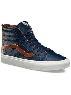 Vans SK8 Hi Reissue Zip Leather Perf Dress Blues High Tops (11.5 Mens)