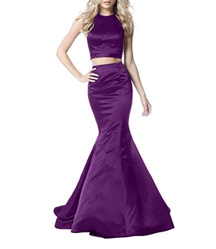 Lang Zwei Meerjungfrau teilig Jugendweihe Partykleider La Traube Ballkleider Festlichkleider Satin Abendkleider Kleider Brau mia qwnxvPf7