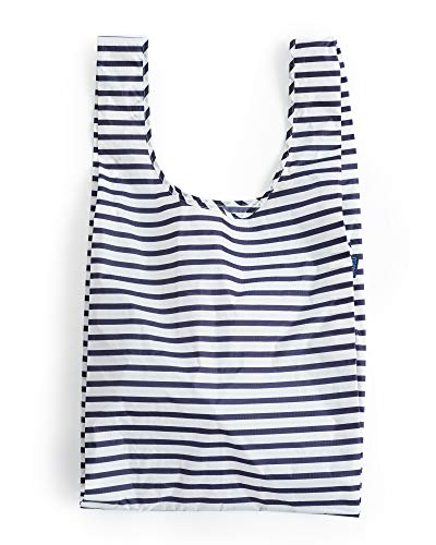 BAGGU Large Reusable Shopping Bag, Foldable Ripstop Nylon Tote for Laundry or Shopping, Sailor Stripe (2018)