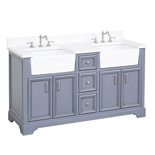 Zelda 60-inch Double Bathroom Vanity (Quartz/Powder Gray): Includes a Quartz Countertop, Powder Gray Cabinet with Soft Close Doors & Drawers, and White Ceramic Farmhouse Apron - Double Sink Vanity Drawers Three