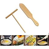Wooden Crepe Spatula and crepe spreader Wooden Spatula Set Perfect Size to Fit Medium Crepe Pan 100% Natural Beechwood Crepe