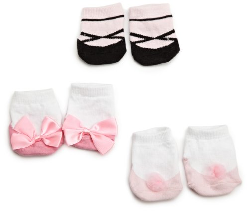 Little Me Baby-Girls Newborn Tutu/Ballet 3 Pack Bootie Socks