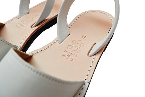 White Leather 38 White Menorquinas Avarcas Simple Spaniard B 8 Sandals M Off M US Classic EU IZI0x1w
