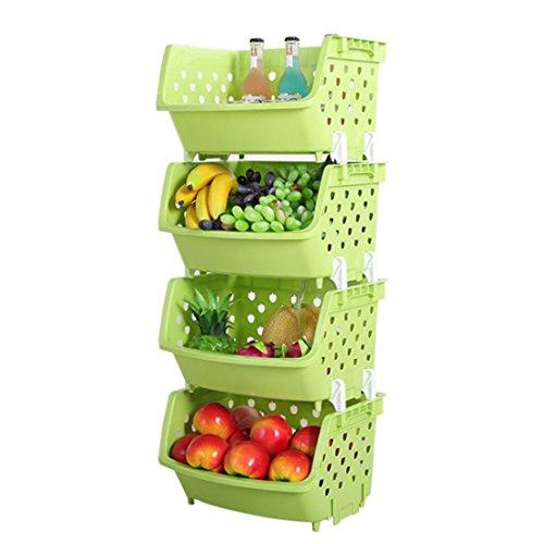 (4Pack Market Baskets YIFAN Storage Basket Stacking Baskets Organizer for Fruits, Vegetables, Pantry Items Toys - Light Green)