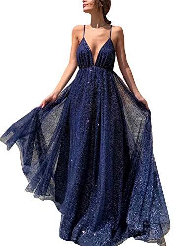 (Women's Sparkling Deep V-Neck Prom Dresses Long Backless Tulle Formal Evening Gown(Navy 02))