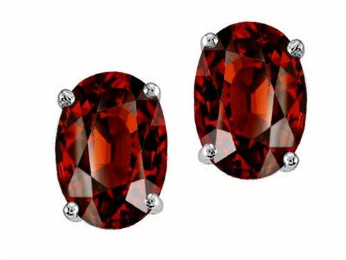 Tommaso Design Oval 7x5mm Genuine Garnet Earrings Studs 14kt Gold