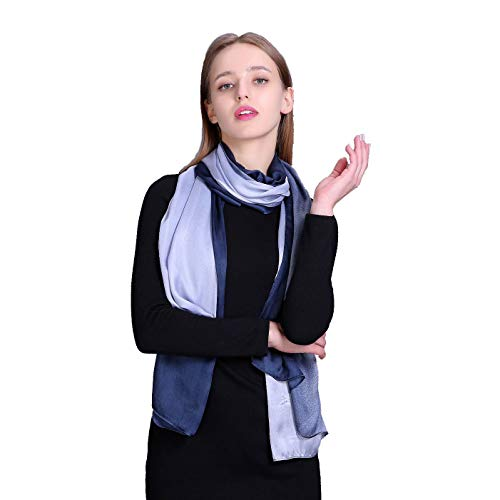 Women's 100% Mulberry Silk Scarf-Fashion Lightweight Long Scarves-Large Sunscreen Shawl Gift for Lady (gray(qing'))