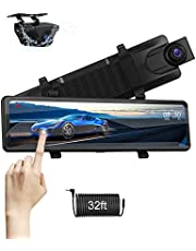 Upgraded 12'' Mirror Dash Cam Front and Rear Dual FHD 1080P Rear View Mirror IPS Full Touch Screen Rearview Waterproof Backup Camera with Night Vision for Cars, 33ft Extension Cable