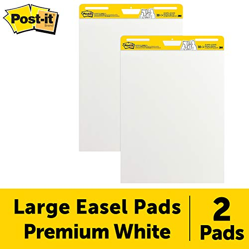 Post-it Super Sticky Easel Pad, 25 x 30 Inches, 30 Sheets/Pad, 2 Pads, Large White Premium Self Stick Flip Chart Paper, Super Sticking Power - Board Recycled Poster