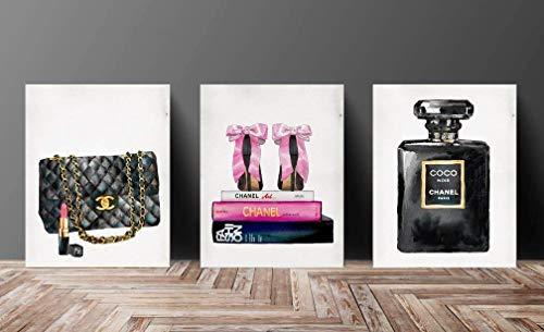 Wall Art Poster Print - COCO CHANEL, Shoes, Book, Handbag Vogue- FamousFashion Quote - Black WaterColor- 633, 630, 632