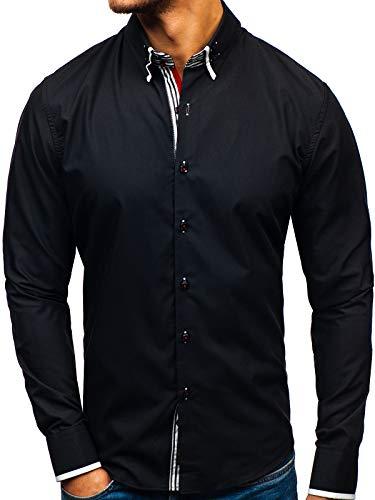 Chemise Bolf Slim 2b2 Manches Longues Noir Homme Boutons Élégante 1747 Fit SaaqZAU