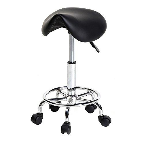 Mallmall Hydraulic Adjustable Rolling Massage Salon Spa Stool Saddle Chair