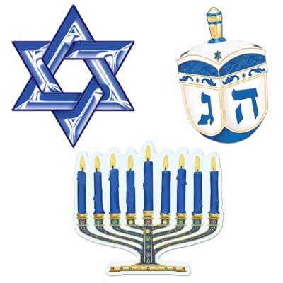 Beistle 22416 Hanukkah Cutouts, 10-Inch, 3 Per Package (Menorah Paper)