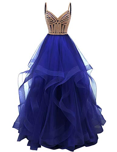 Tulle Crystal Beaded Prom Dresses Tiered Formal Evening Dresses Spaghetti Strap Ball Gown(Royal Bue 6)