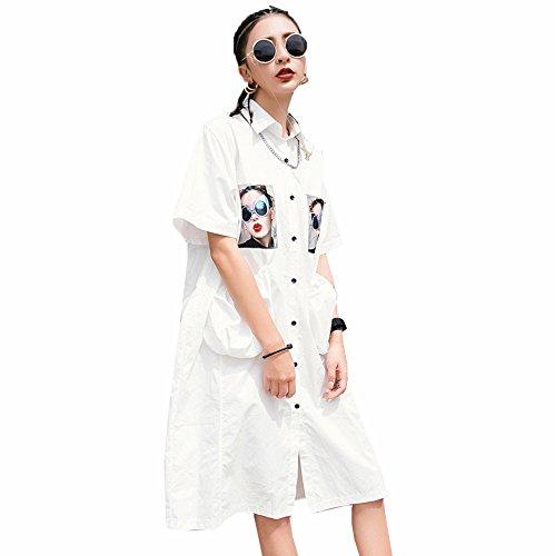 夏の漫画香港スタイルの白いシャツ女性緩い野生の学生のシャツ,白,ワンサイズ DYY