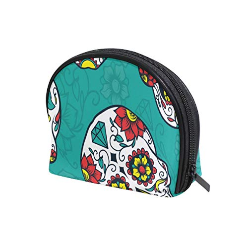 (U LIFE Halloween Skulls Candy Floral Flowers Cosmetic Bag Makeup Travel Organizer Storage Pouch Purse for Women)