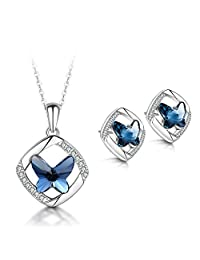 T400 925 Sterling Silver Blue Butterfly Crystal Pendant Necklace and Stud Drop Dangle Earrings Jewelry Sets for Women Girls