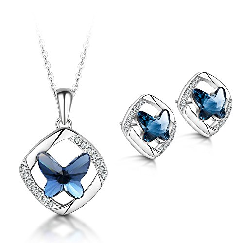 T400 925 Sterling Silver Blue Butterfly Pendant Necklace Made with Swarovski Elements Crystal Dangling Stud Earrings Jewelry Set Birthday Gift for Women ()
