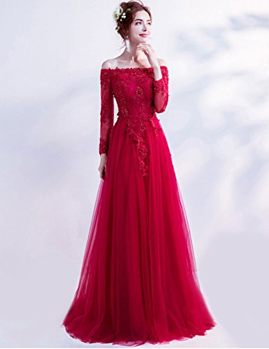 Schulterfrei Brautjungfernkleid Elegant Trägerlos Champagner Damen Ärmel mit Abendkleider Lang LuckyShe S7AtOwxt