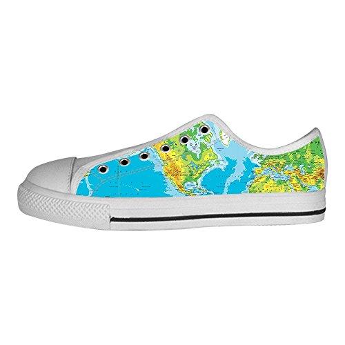 Custom Mappa del mondo Womens Canvas shoes I lacci delle scarpe scarpe scarpe da ginnastica Alto tetto Nuevos Estilos En Línea Barato p60yXINV