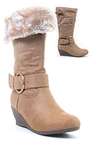 Furry Buckle Wedge Vegan Suede Knee Womens Boots