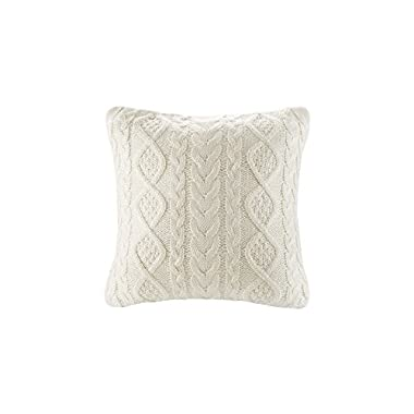 DOKOT Cable Knit Throw Pillow Cover Sweater Knitting Square Warm Throw Pillow Cover/Cushion Cover 100% Cotton (Cream, (18x18 inches(45x45cm))